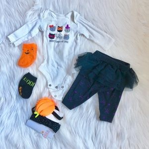 🌻EUC NB Halloween Onesie leging headbands & socks